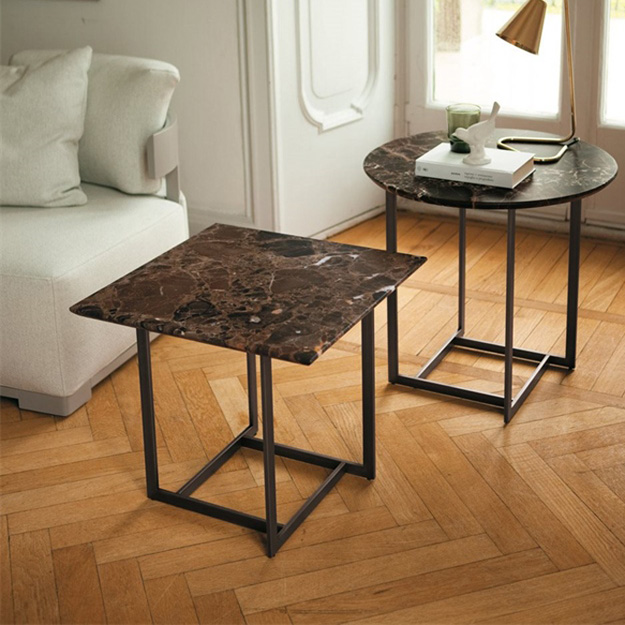 Glass And Metal Square Coffee Table In Black W 80cm: Porada Londra Coffee Table