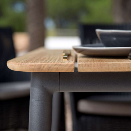 Cane-line teak and powder coated aluminium seen on Core table