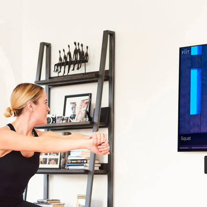Flexible Fitness at Home. Pictured: Fiit on demand fitness.