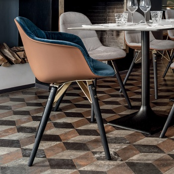 Bontempi Casa Mood Upholstered Chair Wood Legs With Arms