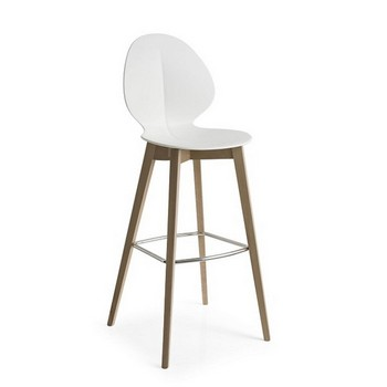 Calligaris Basil Bar Stool Wood Legs