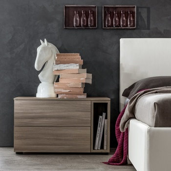 Symmetry Bedside Table with Open Storage