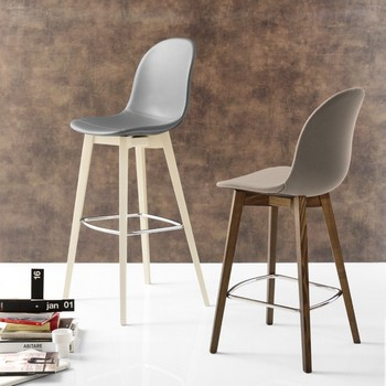 Connubia Calligaris Academy Bar Stool Wood Legs