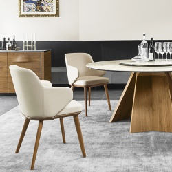 Calligaris Foyer Wood Leg Chair With Arms